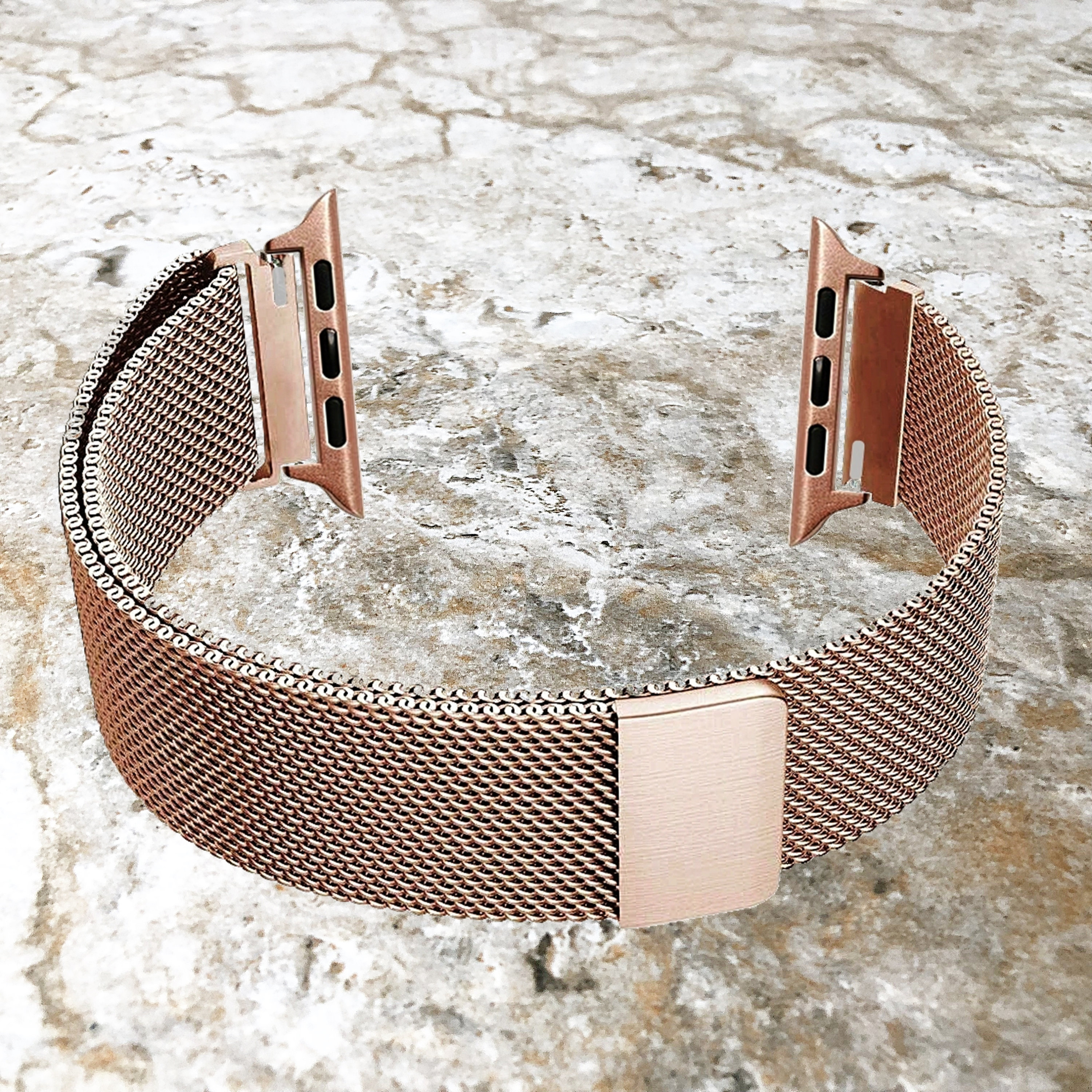 Modern Rose Gold Color Stainless Steel Adjustable Milanese Mesh Band Strap Apple Iwatch 38mm 40mm 42mm 44mm Watch Se 6 5 4 3 2 1 All Series Nickston All Rights Reserved