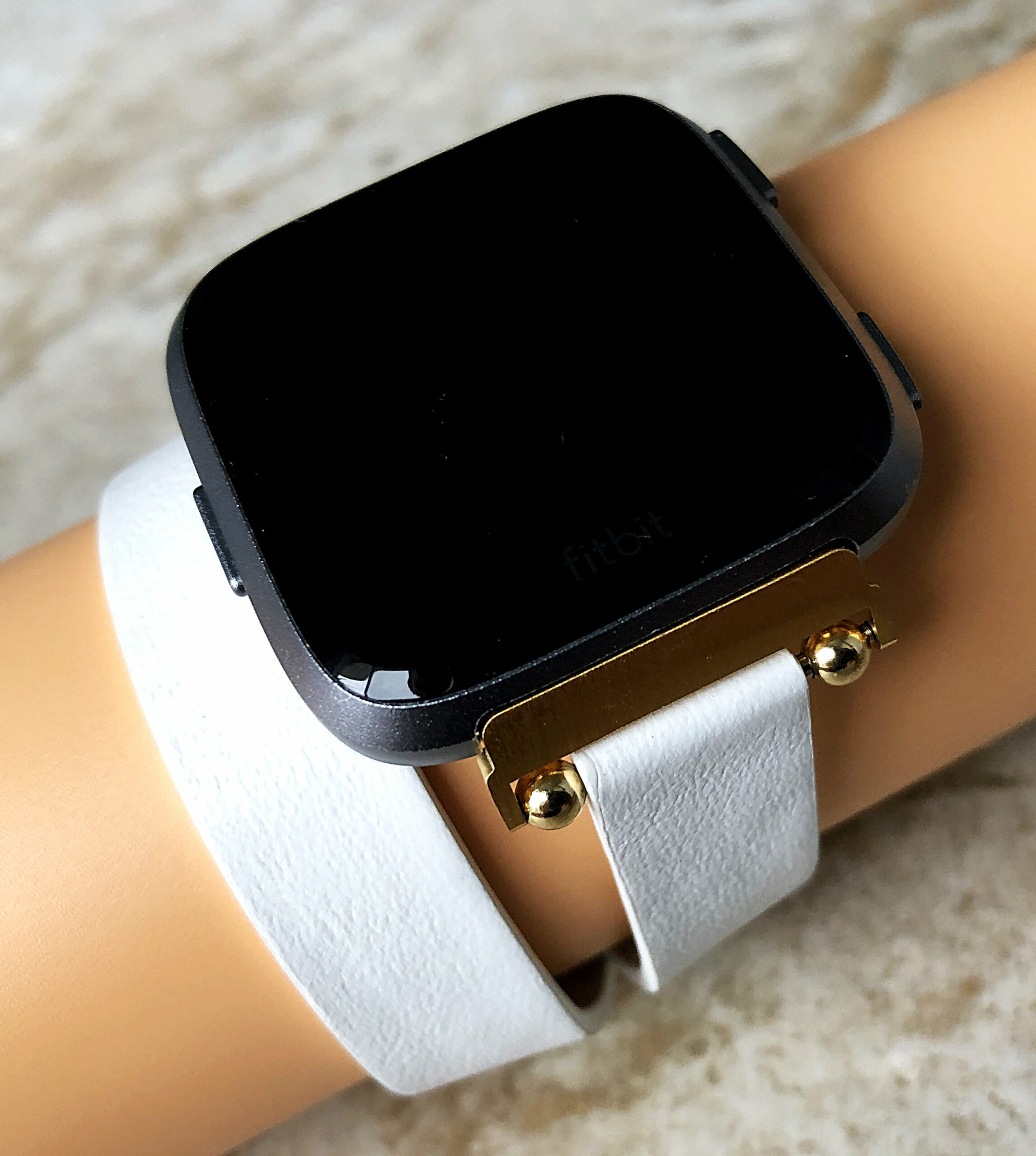 White Soft Band For Fitbit Versa 2 Double Wrap Around Wrist Eco Vegan Leather Watch Strap Twice Bracelet In Silver Rose Gold Black Finish Nickston All Rights Reserved