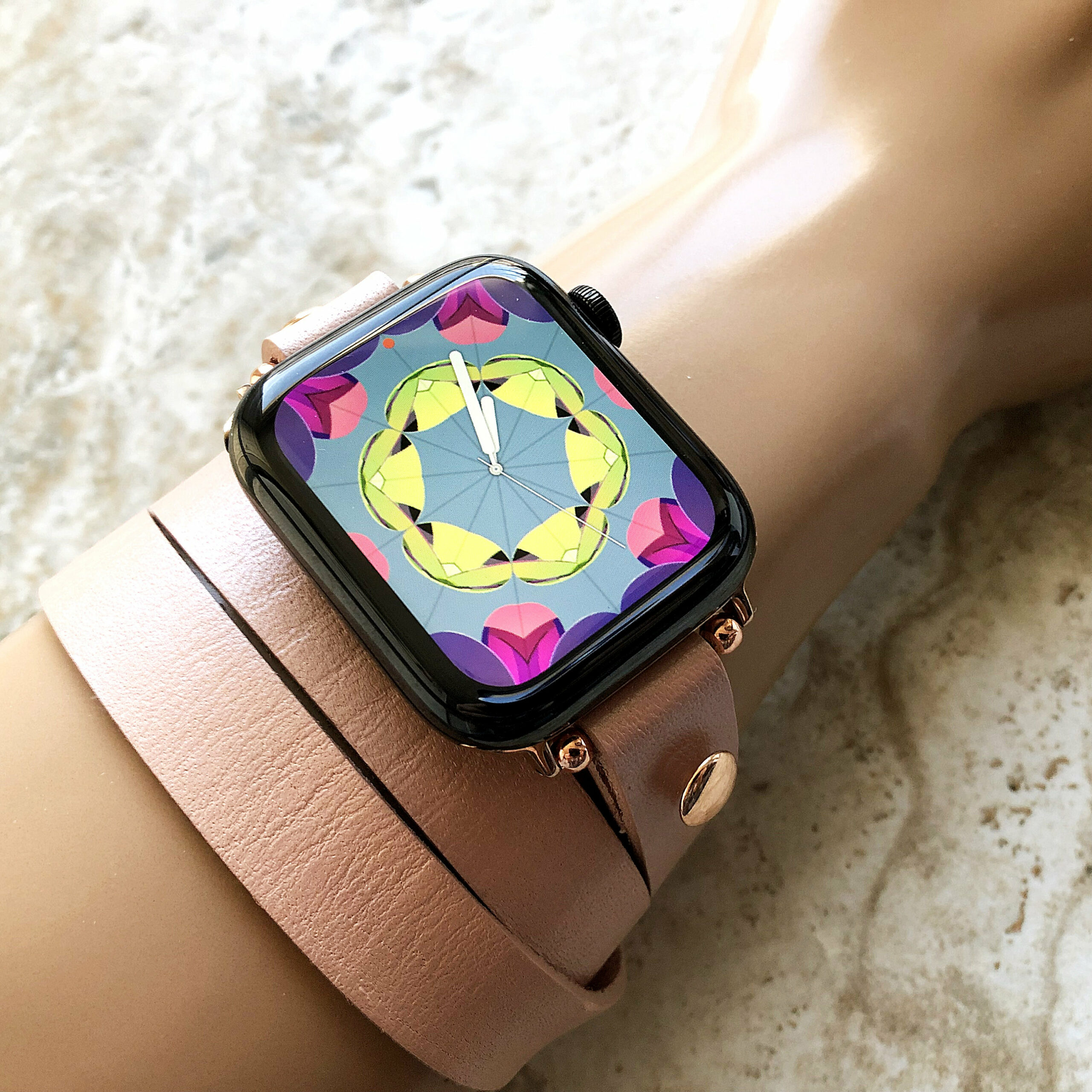 Rose Gold Color Triple Wrap Around Wrist Leather Band For Apple Watch All Series Se 6 5 4 3 2 1 Nike Hermes Edition 38 40mm 42mm 44mm Bracelet Strap Nickston All Rights Reserved